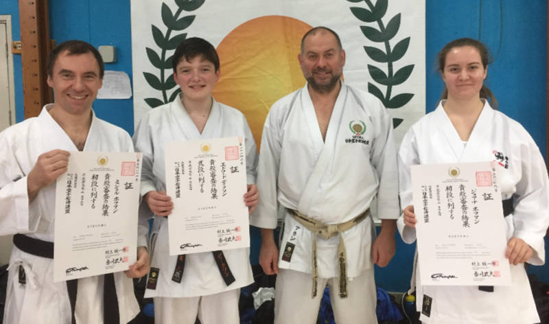Michal, Edd and Asia with their dan certificates